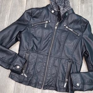 73f8e9ee4 Jou Jou Kids Faux Motto Leather Jacket w hood.